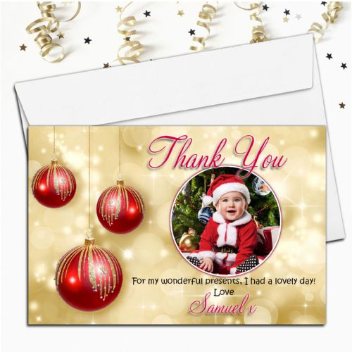 10 Personalised Red & Gold Christmas Thank you PHOTO Cards N53